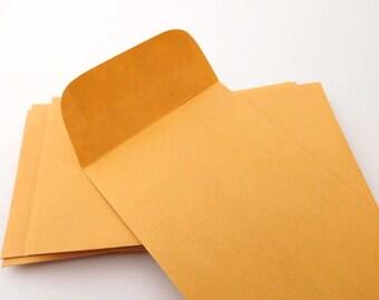 50 Small Kraft Envelopes. 2.5 x 4.5 Inches. Coin No.3. Coin Envelope. Kraft Envelope. Stationery Envelope. Supply Smash Book Art Journal