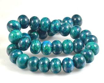"""Rondelle Azurite Chrysocolla Jasper Beads Gemstone 16mmx12mm 14mmx10mm 12mmx8mm 10mmx6mm 8mmx5mm beads blue green jasper  Full Strand 15.5"""""""