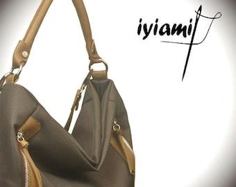 Waterproof handbag,,shoulder,messenger,everyday ,ipad bag, in olive-brown color  with leather details,named Vera MADE TO ORDER