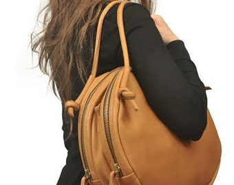 Leather handbag,shoulder bag,tote ,everyday bag in Camel ,named SELINI ,made to order