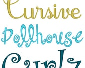 Set of 3 PES ONLY Curlz, Dollhouse, Cursive Machine Embroidery Monogram Font Sets