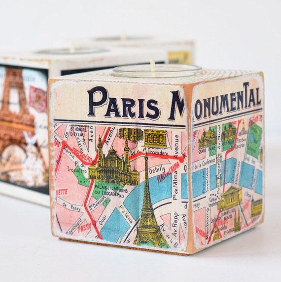 Paris Tealight Holders, Wood Block Candle Holders, Set of Three, Paris Decor, Paris Map, Eiffel Tower, Hostess Gift, Votive Holders