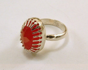 Carnelian and Sterling Silver Ring, Carnelian Ring, Carnelian Gemstone Ring (Resizeable)