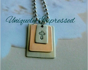 Cross Faith Layered Metal Key Chain Necklace Hammered Jewelry Men's Women's Uniquely Impressed