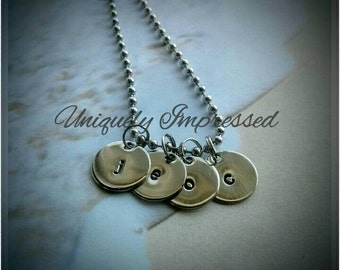 Initials Charmed Layered Metal Necklace Hammered Jewelry Men's Women's Uniquely Impressed