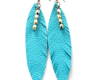 Carolina Panthers earrings, Turquoise feather earrings, Leather earrings, Feather earrings, Turquoise earrings, Turquoise and Gold
