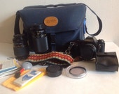 Vintage Canon T50 Camera With Bag Accessories