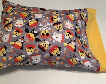 Halloween travel pillow case/toddler pillow case Trick or Treat Bag 100% cotton Halloween Cats