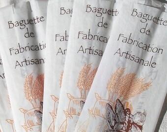 Vintage French Bread Baguette Bags Paper Sacs Unused Bakery Boulangerie Stock