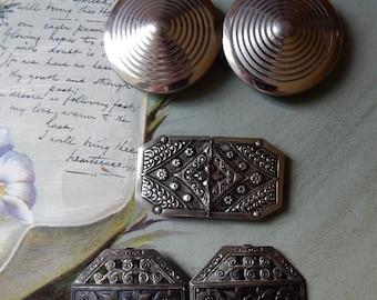 3 Vintage Silver Tone 2-Piece Belt Buckles