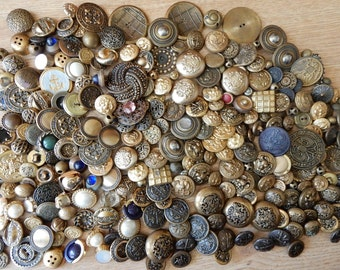 260 Vintage Gold Tone Metal Buttons