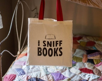 I Sniff Books Tote Bag - Red or Natural Handle