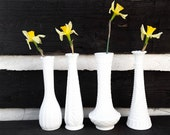 White Milk Glass Vases, Collection / Set of 4; Bohemian Rustic Wedding or Home Decor