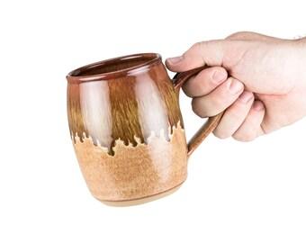 Extra large hand thrown pottery mug in Desert Glaze / Wheel thrown Mug | Coffee mug | tea mug | Large mug /