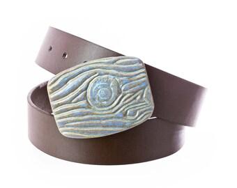 Stoneware pottery belt buckle in powdery sky blue glaze. Woodgrain Texture- Buckle Only->>BELT SOLD SEPARATELY / pottery belt buckle