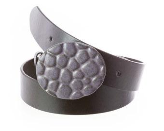 Pottery belt buckle in Eggplant matte purple glaze. Oval shape, pebbles texture  /Buckle Only-->>BELT SOLD SEPARATELY / pottery belt buckle