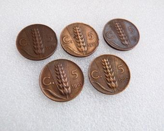 Italian Centesimi Coins ~ 1920s Art Deco Period Wheat Ear Design Coins Italy