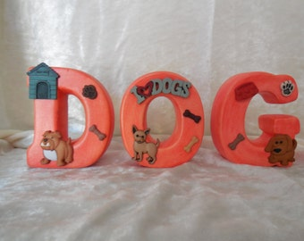 Hand Made, Hand Painted Ceramic Letters Spelling Dog, Alphabet Letters, Dog Letters
