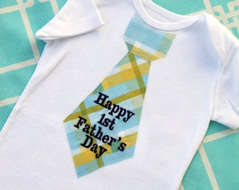 Happy 1st Father's Day Baby Boy Tie Bodysuit. Choose Any Necktie Fabric. Plaid, Stripes Argyle. New Dad New Baby. Father's Day, Mother's Day