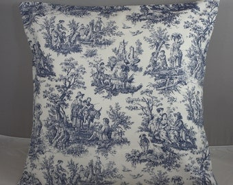 "Pillow Cover  Waverly Blue and Off White French Toile Jamestown  20""x20"""