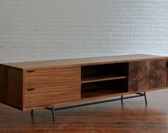 Weeks credenza, mid century modern media console, walnut sideboard, modern lowboy