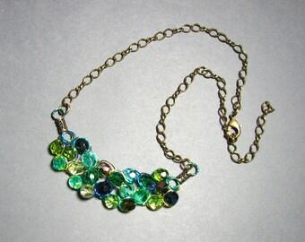 Adjustable Wire Crochet Necklace of Czech Glass