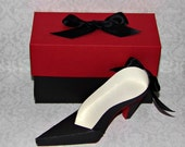 25 Black and Beige Women's High Heel Paper Shoe Favor Boxes with Red Soles