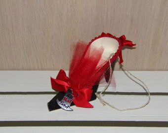 Paper Shoe Ornament, Alice in Wonderland We're All Mad Here Charm High Heel Paper Shoe Ornament, READY TO SHIP
