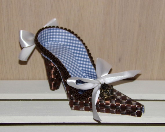 Dog in Hot Air Balloon Basket Charm High Heel Paper Shoe, One of a Kind, READY TO SHIP