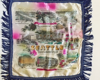 Vintage, Seattle, Washington, Silk Souvenir, Pillow Case Cover With Fringe