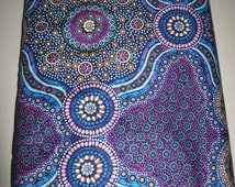 Per Yard 36x45 inches Ethnic Aboriginal fabric/Wild Bush Flowers Purple/ Australian fabric/Layla Campbell/ Tribal print fabrics for clothing