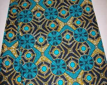 Per Yard, Aqua Blue color Supreme Wax Holland African fabric/Ankara wax print/ Holland wax prints/ Supreme Holland fabrics