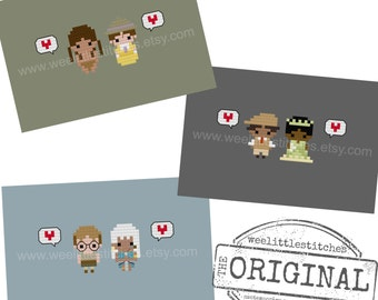 Storybook Romance Collection 4 - Tarzan, Atlantis, Princess & the Frog - The *Original* Pixel People Minis - 3 PDF Cross-stitch Patterns