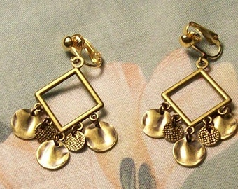 Clip on or Pierced Hammered Wavy Antiqued Gold Bronze Drops Earrings