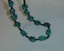 Vintage Native American New Mexico Southwestern Big ChunkyTurquoise Nuggets & Black Shell Heishi Necklace UNISEX