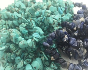 Turquoise Gemstone Chip Nugget Beads, Blue Lapis Gemstone Nugget Beads, Gemstone Nugget Beads, Gemstone Beads, Nugget Beads, Chip Beads