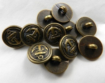 10 Anchor Antique Bronze Shank Buttons, Garment Buttons, Coat Buttons, Resin, Nickel Free, Washable, Dry Cleanable, 15mm, Nautical