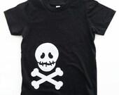 White Skull T Shirt Black Kids Boy Girl Unisex Halloween