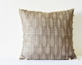 Hand Block Printed Cushion Cover in Grey Silk with Indian Motif , Throw Pillow , Decorative Pillow