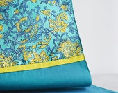 Turquoise Floral Printed Silk Table Runner , Indian Summer Flowers Print , Silk Table Runner , Dining and Entertainment, Kitchen & Dining