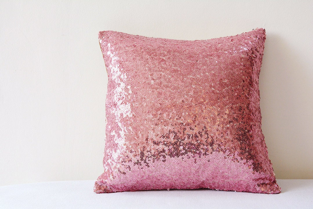 Rose Pink Shiny Sequin Pillow Cover Rose Pink Holiday Decor