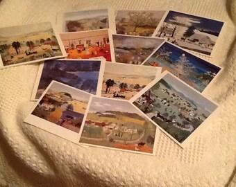 Grandma Moses Prints, Two Sets of 12 each