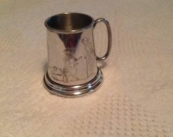 Baby Cup, English Pewter, Etched Figures and Baa Baa Black Sheep Poem