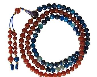 Fire and Ocean Carnelian and Blue Agate Tibetan 108 Bead Mala for Meditation