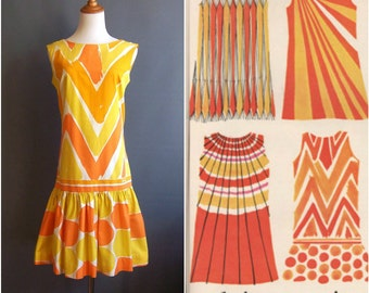 1960s Vera shift dress, mod minidress engineered print supergraphic hand print Vera Neumann 1967 Hoorays