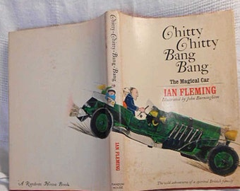 Chitty CHITTY BANG BANG Ian Fleming Book Humor Magical Car Wild Adventures Kids Dad Spirited British Family, Illustrated 1964 hcdj