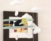 Airplane Baby Mobile- Vintage Bi-Wing Planes- Custom Colors