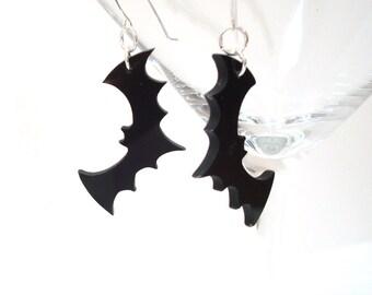 Halloween Bat Earrings Flying Bat Dangle Earrings Halloween Bat Jewelry Halloween Accessory Gothic Jewelry Acrylic