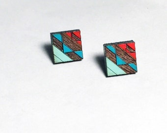 Tribal Post Earrings Blues and Red 1 on Walnut
