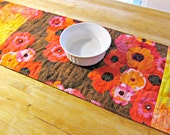 Quilted Table Runner, Poppy Table Runner, Modern Table Runner, Batik Table Runner, Brown Table Runner, Poppies, Poppy Decor